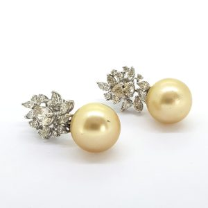 Golden Southsea Pearl Earrings with Diamond Cluster Tops