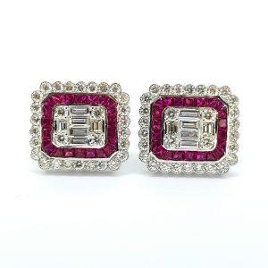 Pair of Modern Ruby and Diamond Cluster Stud Earrings