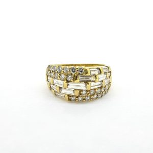 Modern Baguette and Brilliant Cut Diamond Dress Ring in 18ct Yellow Gold