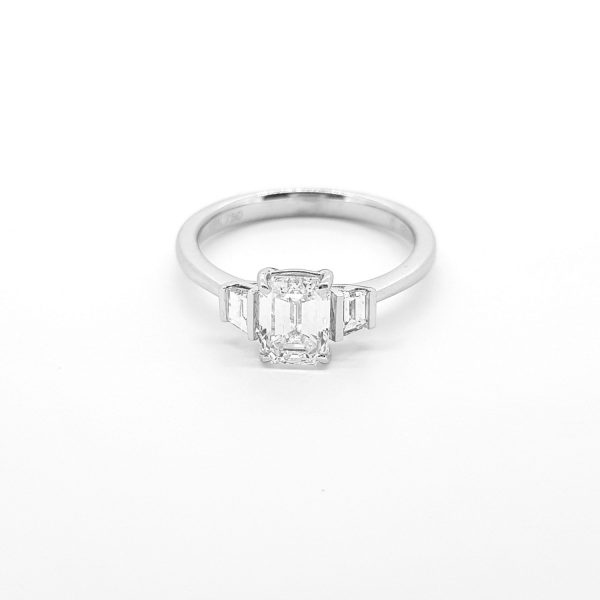 1ct Emerald Cut Diamond Ring with Baguette Shoulders in 18ct White Gold