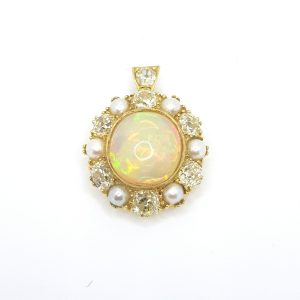 Antique Victorian Opal, Pearl and Old Cut Diamond Cluster Pendant