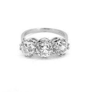 Old Cut Diamond Three Stone Ring in Platinum, 3.52 carats H SI1