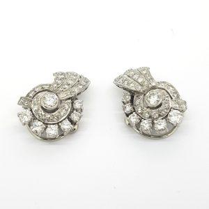Vintage 1940s Diamond Cluster Earrings, 2.00 carat total