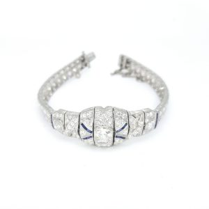 Art Deco Platinum and Diamond Bracelet with Calibre Sapphires