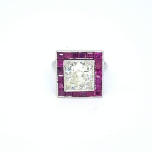 Ruby and Diamond Calibre Square Shaped Cluster Ring
