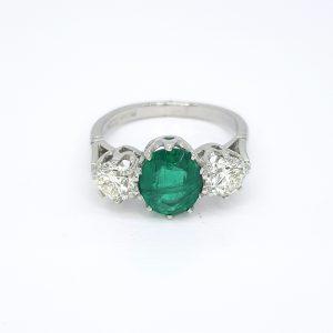 Emerald and Diamond Three Stone Ring in Platinum, 1.73 carats