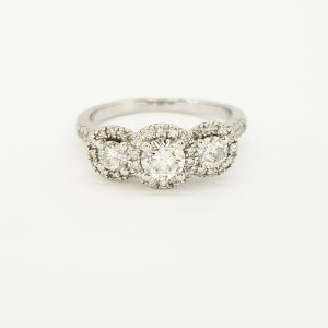 Three Stone Diamond Cluster Ring in 18ct White Gold, 1.00 carat total