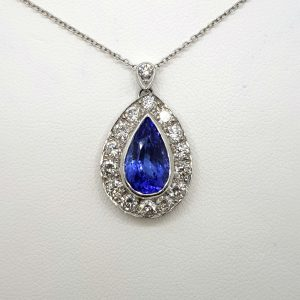 Pear Cut Tanzanite and Diamond Cluster Drop Pendant, 2.70 carats