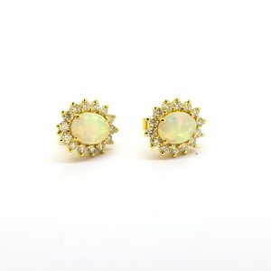 Opal and Diamond Oval Cluster Stud Earrings, 1.15 carats