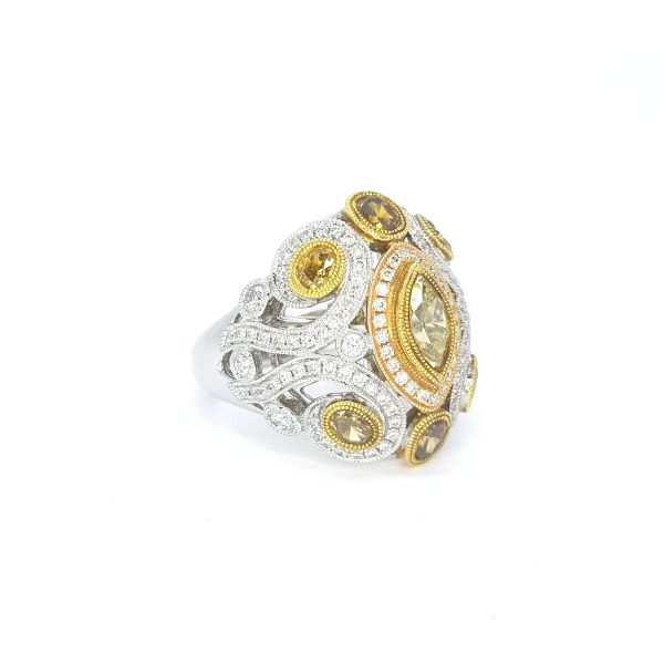 Fancy Yellow Diamond Dress Ring in 18ct White and Yellow Gold, 2.25 carat total
