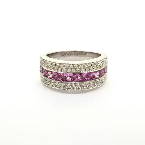 Princess Cut Pink Sapphire and Diamond Set Band Ring