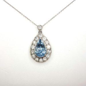 Aquamarine and Diamond Pear Shaped Cluster Pendant, 1.80 carats