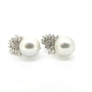Southsea Pearl Earrings with Diamond set Leaf Tops, 1.85 carats