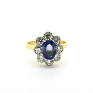 Sapphire and Diamond Floral Cluster Ring, 1.20 carats