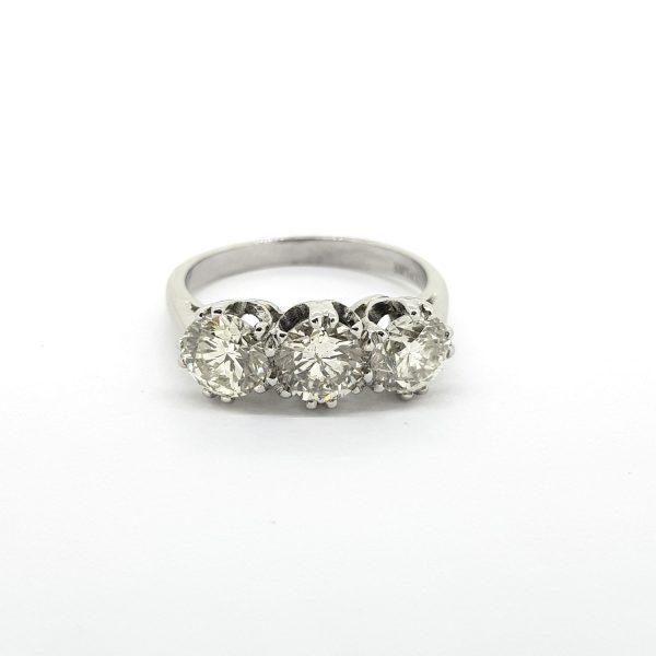 Diamond Three Stone Ring in Platinum, 2.15 carats