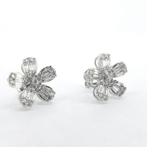 Baguette Cut Diamond Floral Cluster Earrings, 1.60 carat total