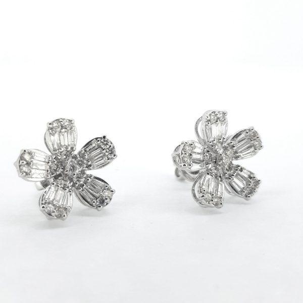 Baguette Cut Diamond Flower Earrings, 1.60 carat total
