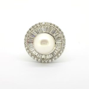 South Sea Pearl and Diamond Cluster Ballerina Ring, 3.00 carat total