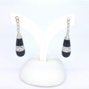 Contemporary Onyx and Diamond Drop Earrings