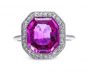Antique Art Deco 4ct Burmese Pink Sapphire and Diamond Ring