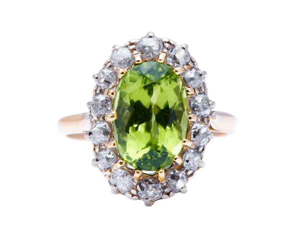 Antique Art Deco Peridot and Diamond Cluster Ring