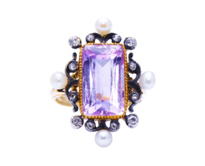 Antique Belle Époque Pink Topaz Pearl and Diamond Ring