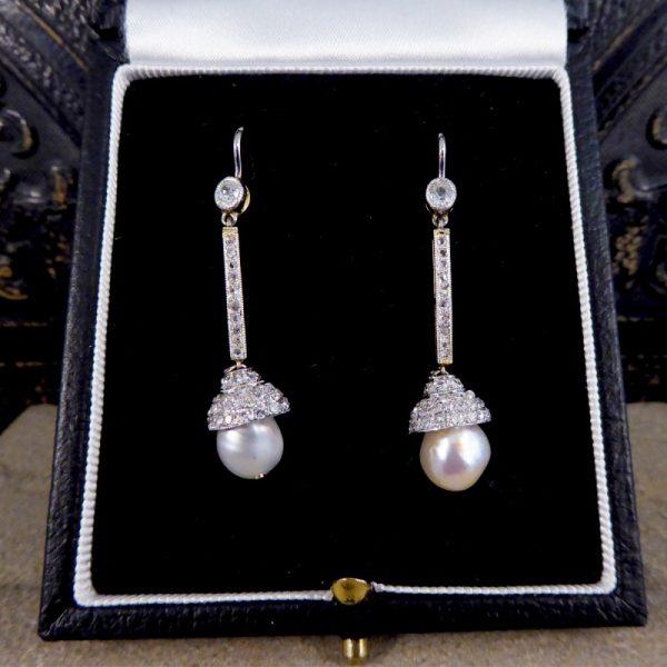 Antique Edwardian Diamond Set Natural Pearl Drop Earrings