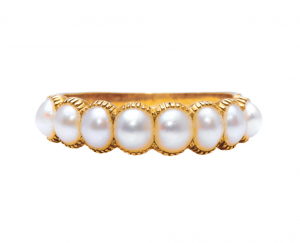 Antique Georgian Natural Pearl Half Hoop Ring