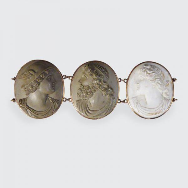Antique Victorian Greek God and Goddess Lava Cameo Bracelet