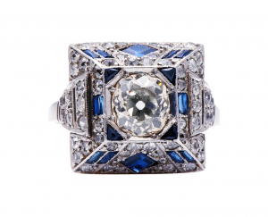 Art Deco Antique Egyptian Revival Sapphire and Diamond Ring