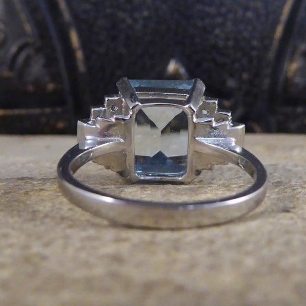 Art Deco Style 5.50ct Aquamarine and Diamond Ring