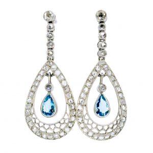 Art Deco Style Aquamarine and Diamond Drop Earrings