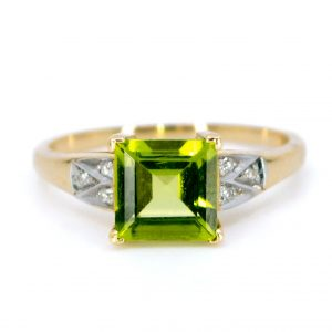 Art Deco Style Peridot and Diamond Ring