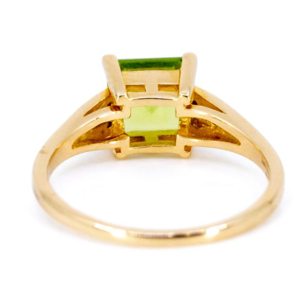 Art Deco Style Peridot and Diamond Ring