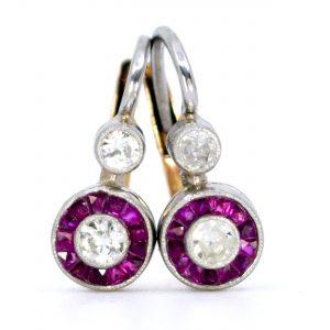 Art Deco Style Ruby and Diamond Drop Earrings