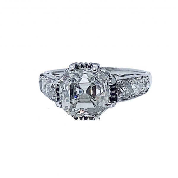 Art Deco square asscher cut diamond engagement ring 3 carats platinum 1925