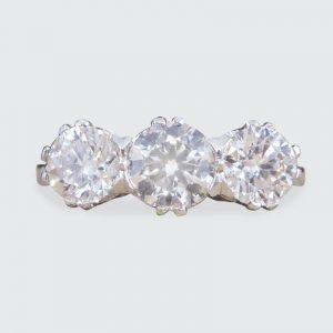 Contemporary 1.62ct Diamond Three Stone Platinum Ring