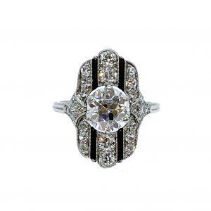 Art Deco Belle Époque Onyx and Old Cut Diamond Dress Ring, Platinum