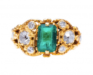 Georgian Antique Colombian Emerald and Diamond Ring