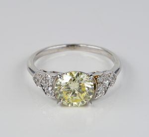 Vintage French Certified 1.91ct Fancy Yellow Diamond Platinum Ring