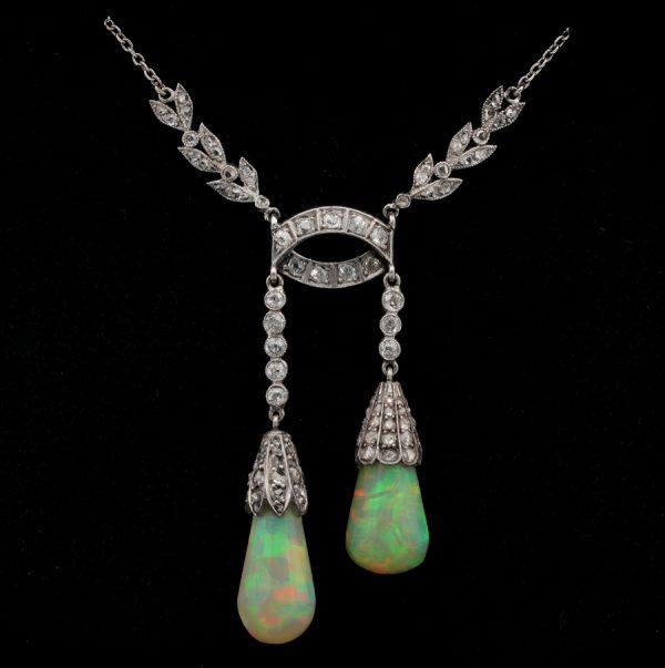 Antique Edwardian Rare Australian Opal Drop Diamond Platinum Negligee Necklace