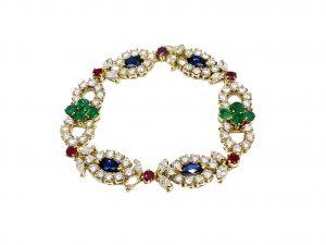 Vintage 1970's Multi Gem Sapphire, Ruby, Emerald and Diamond Bracelet