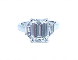 4 carat Emerald Cut Diamond Ring, Baguette Cut Shoulders