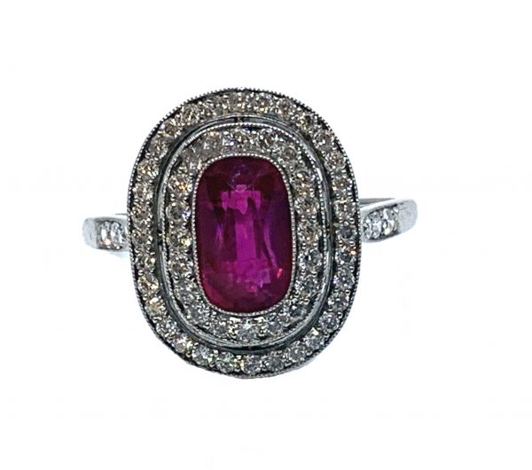 Antique ruby and diamond ring Edwardian 1910 two halo diamonds