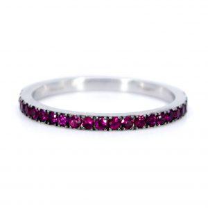 Modern Ruby 18ct White Gold Half Eternity Ring