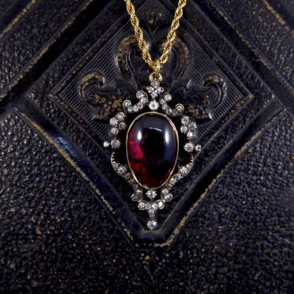 Victorian Antique Cabochon Garnet and Diamond Pendant and Chain WA