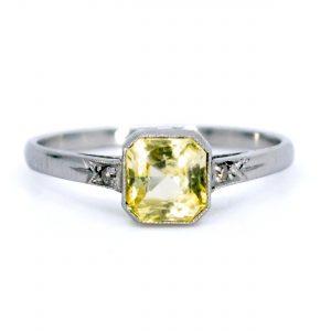 Vintage 1.27ct Yellow Sapphire Platinum Ring