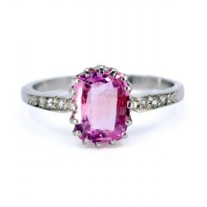 Vintage 2ct Pink Sapphire and Diamond Platinum Ring