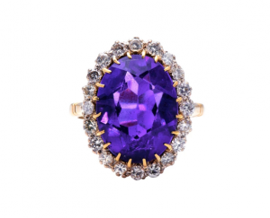 Vintage 8ct Amethyst and Diamond Cluster Ring