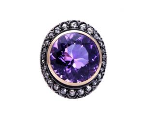 Vintage Amethyst and Rose-Cut Diamond Ring